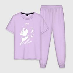Пижама хлопковая мужская Цой Действовать будем Мы W цвета лаванда — фото 1