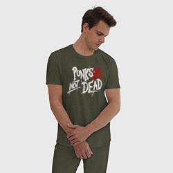 Пижама хлопковая мужская Punks not dead цвета меланж-хаки — фото 2