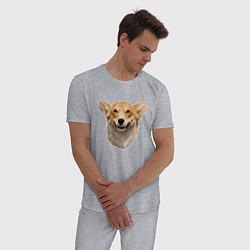Пижама хлопковая мужская Улыбчивый Корги цвета меланж — фото 2