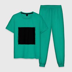 Пижама хлопковая мужская ЧЕРНЫЙ КВАДРАТ цвета зеленый — фото 1