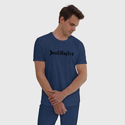 Пижама хлопковая мужская DMC НА СПИНЕ цвета тёмно-синий — фото 2