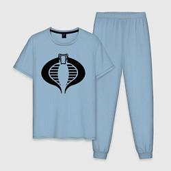 Пижама хлопковая мужская Кобра цвета мягкое небо — фото 1
