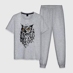Пижама хлопковая мужская Сова цвета меланж — фото 1