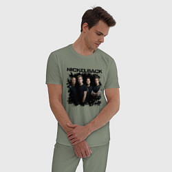 Пижама хлопковая мужская Nickelback цвета авокадо — фото 2