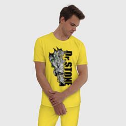 Пижама хлопковая мужская Доктор Стоун цвета желтый — фото 2