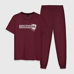 Пижама хлопковая мужская Brazzers цвета меланж-бордовый — фото 1