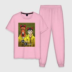 Пижама хлопковая мужская BoJack Horseman цвета светло-розовый — фото 1