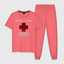 Пижама хлопковая мужская Brazzers orgasm donor цвета коралловый — фото 1