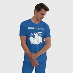 Пижама хлопковая мужская Brazzers цвета синий — фото 2