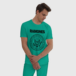 Пижама хлопковая мужская RAMONES цвета зеленый — фото 2