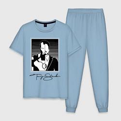 Пижама хлопковая мужская Tony Stark цвета мягкое небо — фото 1