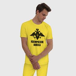 Пижама хлопковая мужская Космические войска цвета желтый — фото 2