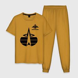Пижама хлопковая мужская Космические войска цвета горчичный — фото 1
