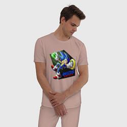 Пижама хлопковая мужская СОНИК цвета пыльно-розовый — фото 2