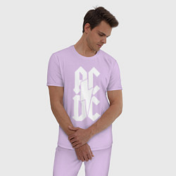 Пижама хлопковая мужская ACDC цвета лаванда — фото 2