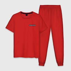Пижама хлопковая мужская Поцелуи нашивка на спине цвета красный — фото 1