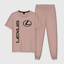 Пижама хлопковая мужская LEXUS цвета пыльно-розовый — фото 1