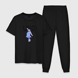 Пижама хлопковая мужская Little Big: UNO цвета черный — фото 1