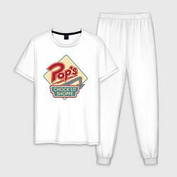 Пижама хлопковая мужская POPS цвета белый — фото 1