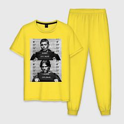 Пижама хлопковая мужская Winchester Brothers цвета желтый — фото 1
