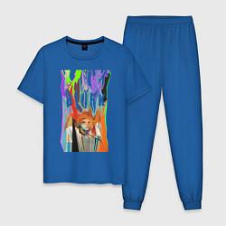 Пижама хлопковая мужская Bjork цвета синий — фото 1