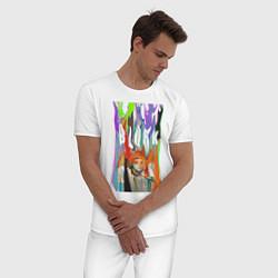 Пижама хлопковая мужская Bjork цвета белый — фото 2