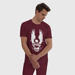 Пижама хлопковая мужская HALO UNSC цвета меланж-бордовый — фото 2