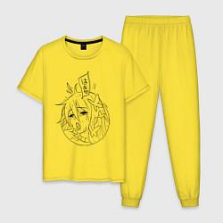 Пижама хлопковая мужская Anime girl цвета желтый — фото 1