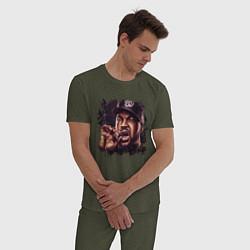 Пижама хлопковая мужская Ice Cube цвета меланж-хаки — фото 2