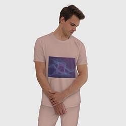Пижама хлопковая мужская Абстрактный узор цвета пыльно-розовый — фото 2