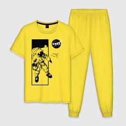Пижама хлопковая мужская NASA цвета желтый — фото 1