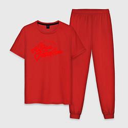 Пижама хлопковая мужская Юрий Гагарин цвета красный — фото 1