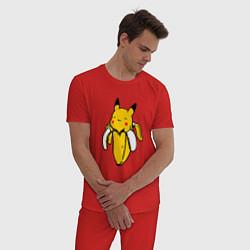 Пижама хлопковая мужская Пикачу-банан цвета красный — фото 2