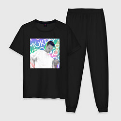 Пижама хлопковая мужская Тима Белорусских цвета черный — фото 1