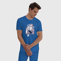 Пижама хлопковая мужская Тима Белорусских: Найду тебя цвета синий — фото 2