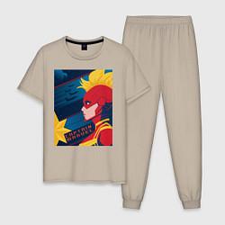 Пижама хлопковая мужская Капитан Марвел Мстители цвета миндальный — фото 1