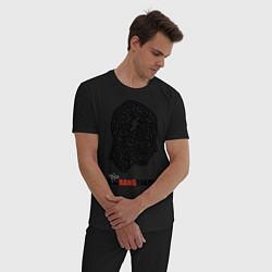 Пижама хлопковая мужская Labyrinth head цвета черный — фото 2