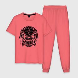 Пижама хлопковая мужская PREDATOR цвета коралловый — фото 1