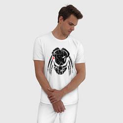 Пижама хлопковая мужская PREDATOR цвета белый — фото 2