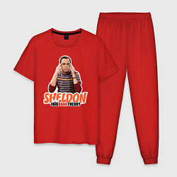 Пижама хлопковая мужская Sheldon цвета красный — фото 1