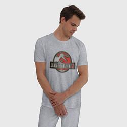 Пижама хлопковая мужская Jurassic World цвета меланж — фото 2