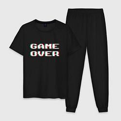 Пижама хлопковая мужская Game Over цвета черный — фото 1