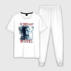 Пижама хлопковая мужская Гарри Поттер цвета белый — фото 1