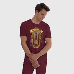 Мужская хлопковая пижама с принтом Гарри Поттер, цвет: меланж-бордовый, артикул: 10218569105937 — фото 2