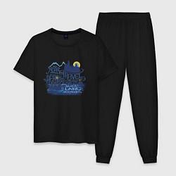 Мужская хлопковая пижама с принтом Гарри Поттер, цвет: черный, артикул: 10218696105937 — фото 1