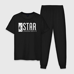 Пижама хлопковая мужская S T A R Labs цвета черный — фото 1