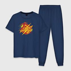 Пижама хлопковая мужская The Fastest Man Alive цвета тёмно-синий — фото 1