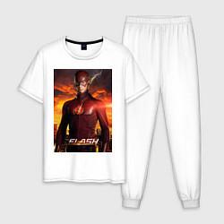 Пижама хлопковая мужская The Flash цвета белый — фото 1
