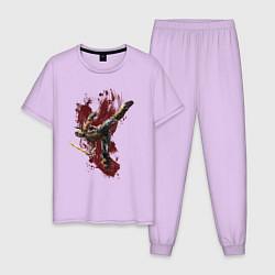 Пижама хлопковая мужская Scorpion цвета лаванда — фото 1