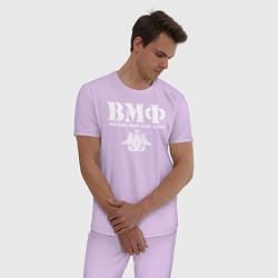 Пижама хлопковая мужская ВМФ цвета лаванда — фото 2